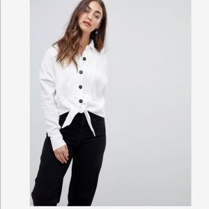 Free People Sunstreaks Tie Front Shirt White NWT